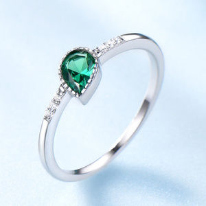 Created Emerald Engagement Wedding Ring Silver
